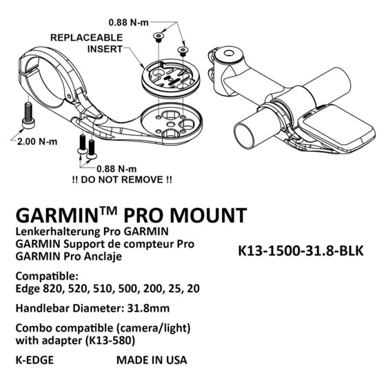 K-Edge Uchwyt Garmin Pro Mount 31.8 mm