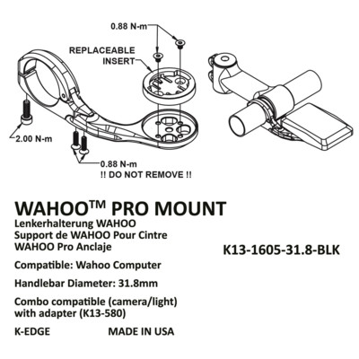 K-Edge Uchwyt Wahoo Elemnt Pro 31.8 mm red